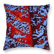 Red Kamani Tree Leaf Throw Pillow