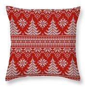 Red Knitted Winter Sweater Throw Pillow