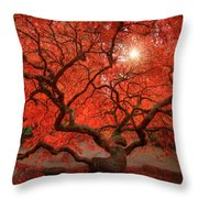 Red Lace Throw Pillow