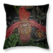 Red Lady Slipper Throw Pillow