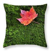 Red Leaf Green Moss Throw Pillow