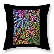 Red Leaf Hibiscus Throw Pillow