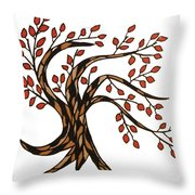 Red-leafed Tree Throw Pillow