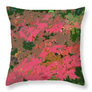 Red Leafs Work Number 12 Throw Pillow