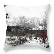 Red Leaves On White Snow Throw Pillow
