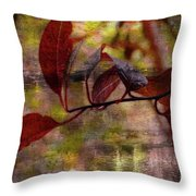 Red Leaves Painted Effect Throw Pillow