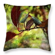 Red Leaves With Texture Throw Pillow