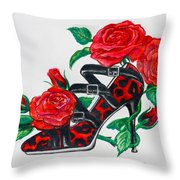 Red Leopard Roses Throw Pillow