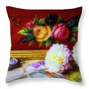 Red Letter Box And Dahlias Throw Pillow