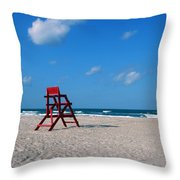 Red Life Guard Chair Throw Pillow