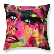 Red Light Offer, Palette Knife Painting Throw Pillow