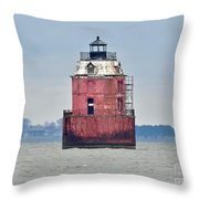 Red Lighthouse At The Sandy Point State Park Throw Pillow