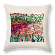 Red Lillies 2 Throw Pillow