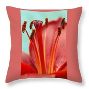 Red Lily Reach Throw Pillow
