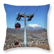 Red Line Cable Cars And Mt Illimani La Paz Bolivia Throw Pillow
