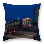 Red Line Train Rumbling Over The Longfellow Bridge In Boston Ma Throw Pillow