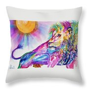 Red Lion Throw Pillow by Larry  Johnson