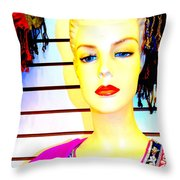 Red Lips And Sequins Throw Pillow