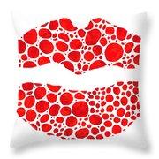 Red Lips Art - Big Kiss - Sharon Cummings Throw Pillow