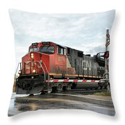 Red Locomotive Throw Pillow