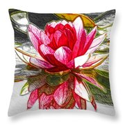Red Lotus Flower Throw Pillow