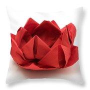 Red Lotus Origami Throw Pillow