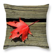 Red Maple Leaf On A Boardwalk  Throw Pillow