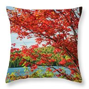 Red Maple On Lake Shore Throw Pillow