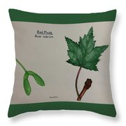 Red Maple Tree Id Throw Pillow