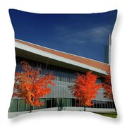 Red Maple Trees And Modern Architecture Of Seneca College York U Throw Pillow
