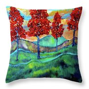 Red Maples On Green Hills With Name And Title Throw Pillow