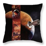 Red Mars Cover Painting Throw Pillow