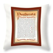 Red Matted Floral Scroll Desiderata Poem Throw Pillow