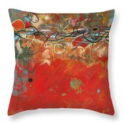 Red Meander Throw Pillow