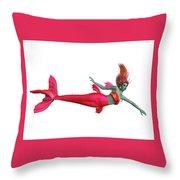 Red Mermaid On White Throw Pillow