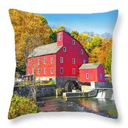 Red Mill Nj Fall Landscape Throw Pillow