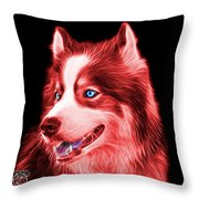 Red Modern Siberian Husky Dog Art - 6024 - Bb Throw Pillow
