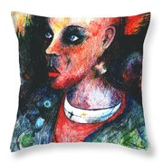 Red Mohican  Throw Pillow