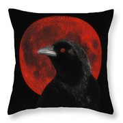 Red Moon Black Crow Throw Pillow
