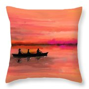 Red Morning Spin Throw Pillow