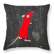 Red Mouse Throw Pillow