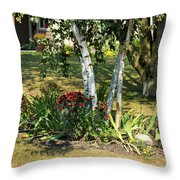 Red Mums And Birch Trees Throw Pillow
