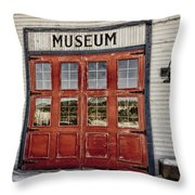 Red Museum Door Throw Pillow