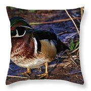 Red Nose Duck Throw Pillow