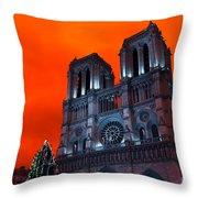 Red Notre Dame Pop Art Throw Pillow
