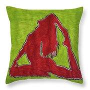 Red Nude Yoga Girl Throw Pillow