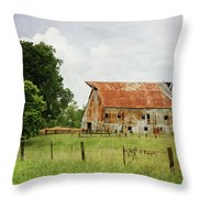 Red Oak Barn Throw Pillow