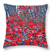 Red  Oak Leaves  Throw Pillow
