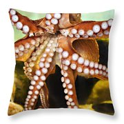 Red Octopus Throw Pillow