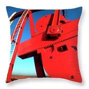 Red Oil Well Pump Oilfield Throw Pillow